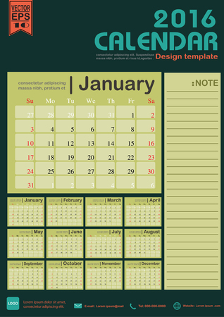 event planner: Calendar 2016 green color tone background design template with Set of 12 Months Can be used for office object, new year,company,business,holiday or plan vector illustration