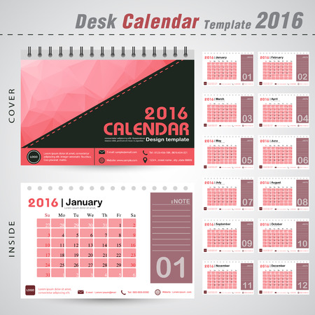 event planner: Desk Calendar 2016 Vector Design Template red with triangle abstract pattern background Set of 12 Months Can be used for new year, business, holiday or planner vector illustration