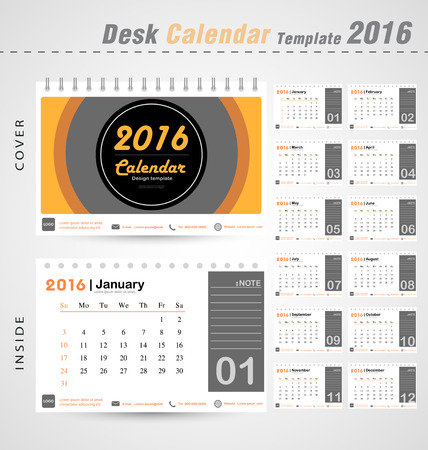 デスク カレンダー 2016年ベクトル モダンなサークル デザイン カバー テンプレート設定の 12 ヶ月ことができます使用会社オフィス ビジネス休日や