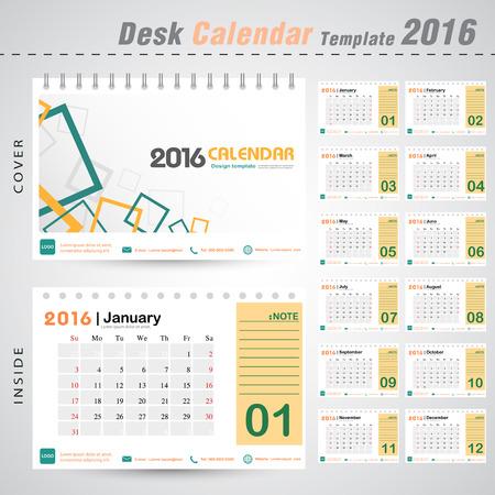 デスク カレンダー 2016年ベクトル現代正方形デザイン カバー テンプレート設定の 12 ヶ月ことができます会社オフィス ビジネス休日やプランナー ベ