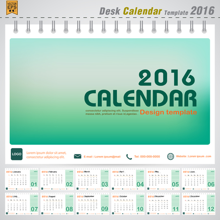 Desk calendar 2016 vector modern green design cover template with  Set of 12 Months Can be used for company office business holiday or planner vector illustration
