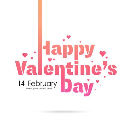 幸せなバレンタインデーのラベル、記号、心パターン背景上のタイポグラフィ 2 月 14 日はポスター、要素、バナー テンプレート ベクトル図、使用