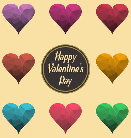 幸せなバレンタインデーのサイン、ポスター、組成、バナー テンプレート ベクトル図の set 要素を使用ことができます抽象多角形の心