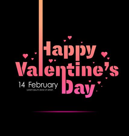 幸せなバレンタインデーのラベル、記号、心パターン黒背景上のタイポグラフィ 2 月 14 日はポスター、要素、バナー テンプレート ベクトル図、使