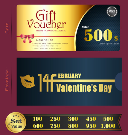 Valentine Day Gift voucher template with premium pattern and envelope design  Can be used for coupon,discount,ticket,certificate,gift,card, background design template,Vector illustration Ilustração