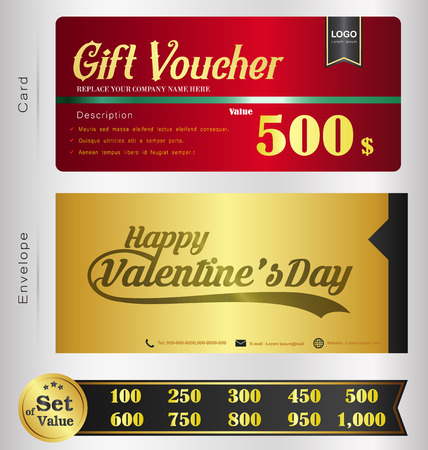 restaurant bill: Valentine Day Gift voucher template with premium pattern and envelope design  Can be used for coupon,discount,ticket,certificate,gift,card, background design template,Vector illustration Illustration