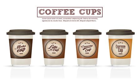 コーヒー バッジやロゴのデザインのコーヒー カップのコレクションのロゴとして使用することができますまたはラベルのカフェ、プレミアム品質の  イラスト・ベクター素材