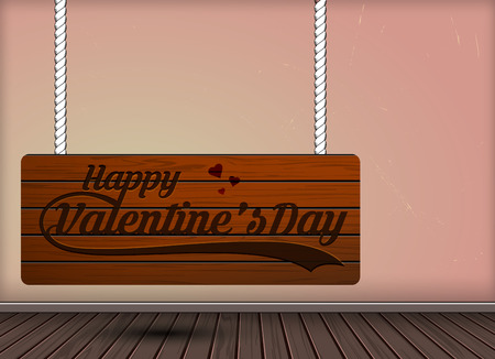 Happy valentine day on Wooden Hanging signs design template on vintage background texture,Can be used for interior, label concept.Vector illustration