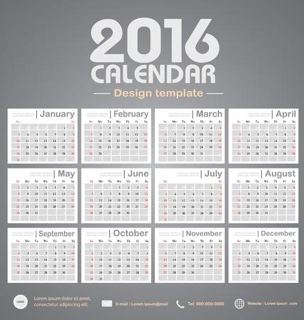カレンダー 2016年グレー色トーン背景デザイン テンプレート設定の 12 ヶ月ことができます office オブジェクト、新年、会社、ビジネス、休日や計画  イラスト・ベクター素材