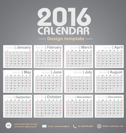 event planner: Calendar 2016 gray color tone background design template with Set of 12 Months Can be used for office object, new year,company,business,holiday or plan vector illustration Illustration