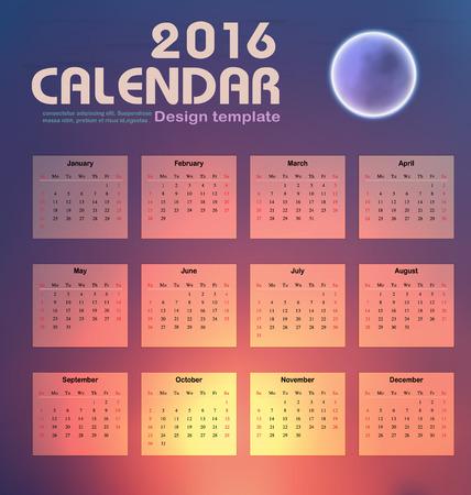 カレンダー 2016年夜空と月背景デザイン テンプレート設定の 12 ヶ月ことができます使用 office オブジェクト、新年、会社、ビジネス、休日または計  イラスト・ベクター素材