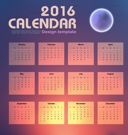 event planner: Calendar 2016 night sky and moon background  design template with Set of 12 Months Can be used for office object, new year,company,business,holiday or plan vector illustration