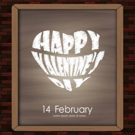 広告、ポスター、カード、ボード、ベクトル図にレンガ壁の背景テクスチャ ビンテージ スタイルに黒板に描く幸せなバレンタイン日タイポグラフィ