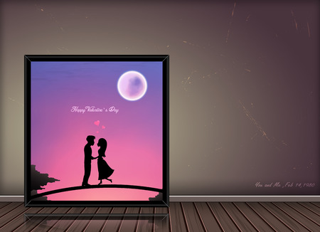 Happy Valentine day love story  concept  in photo frame on vintage background,Can be used for  idea ,decorative,advertising,elements,gallery ,Vector Iluustration