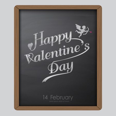 幸せなバレンタイン日タイポグラフィ黒板背景テクスチャ ビンテージ スタイルに適用または調整の祭典、壁紙、ラベル、広告、ポスター、カード、  イラスト・ベクター素材