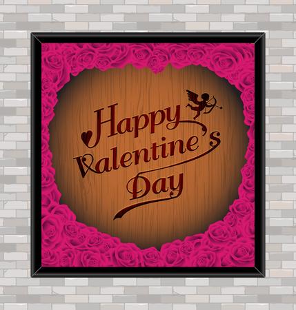 幸せなバレンタイン日タイポグラフィ木製の彫刻の背景テクスチャ ビンテージ スタイル × お祝い、プレゼント、カード、広告、ポスター、ボード  イラスト・ベクター素材