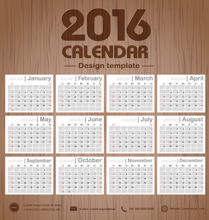 event planner: Calendar 2016 Wooden engraving background texture design template with Set of 12 Months Can be used for office object, new year,company,business,holiday or plan vector illustration