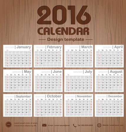 Office オブジェクト、新年、会社、ビジネス、休日または計画ベクトル図の使用設定の 12 ヶ月ことができますカレンダー 2016年木製彫刻背景テクスチ