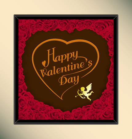 Happy valentine day typography on chocolate background texture vintage style with rose in frame,To adapt idea for brochure,celebration,gift,card,poster,board,postcard,vector illustration