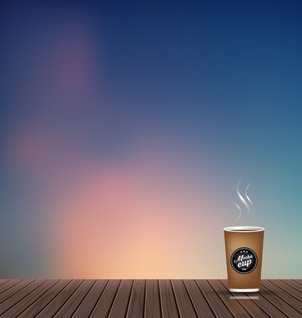 Relax,Vacation time,Holiday,wooden texture floor with evening skyline natural scenery background with coffee cup,To adapt idea for holiday,travel,postcard,elements,nature,vector illustration 向量圖像