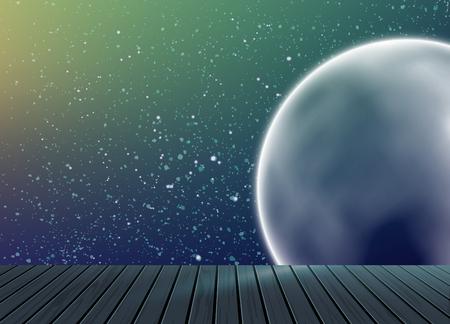 銀河空間パターン背景テクスチャ スタジオ、科学技術、アイデアを適応するために木製の床を飾るギャラリー オフィス スタジオ リビング ルーム   イラスト・ベクター素材