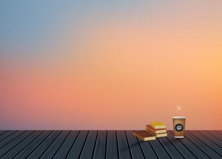 リラックス、休暇時間、休日、木製テクスチャ フロア コーヒー カップとスカイラインの風景背景を夜と休日、旅行、はがき、要素、自然にアイデ