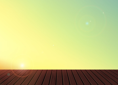 good nature: Relax,Vacation time,Holiday,Summer feeling,wooden texture floor balcony with skyline nature scenery background ,To adapt idea for holiday,gallery,postcard,elements,good weather,vector illustration