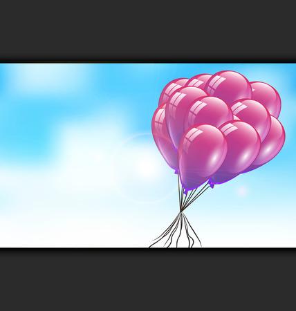 赤いのピンクの風船と素敵な空お祝いや招待カード、ポスター、要素、標識、ラベル、パンフレット、チラシ、広告、ベクトル図のためのアイデア