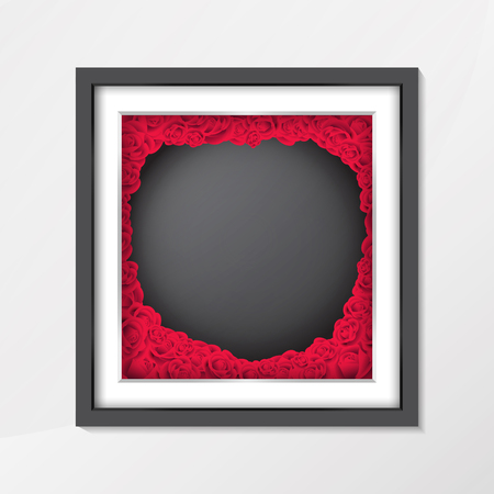 Chalkboard background texture in vintage style with red rose flower in photo frame,To adapt idea for valentine day,lettering,celebration brochure,label,advertising,poster,card,vector illustration Illustration
