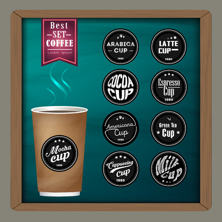 メガ コーヒー バッジやアイデア アイデア広告を申請する黒板の上にコーヒー カップのロゴのデザインのコレクション パッケージ、メニューの背景