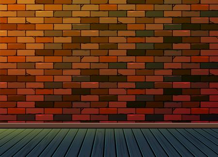 Brick Muster Hintergrund Textur Wand mit Holzboden, Zur Anpassung Idee für Raum, Präsentation für Raum, Interieur, Möbel, Galerie, Büro, Studio, Wohnzimmer, Arbeitsplatz, Vektor, Vektorgrafik