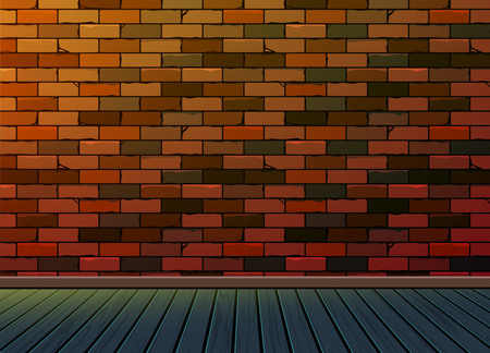 veranda: Brick pattern background texture wall with wooden floor,To adapt idea for room,presentation for space,interior,furniture, gallery,office,studio,living room,workspace,vector, illustration Illustration