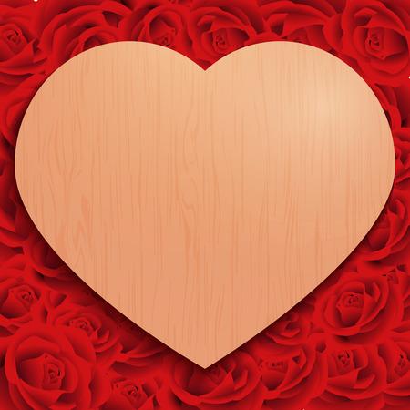 パンフレット、お祝い、ギフト、カード、ポスター、ボード、ポストカード、ベクトル図のためのアイデアに合わせて、バラの木の心バック グラウ