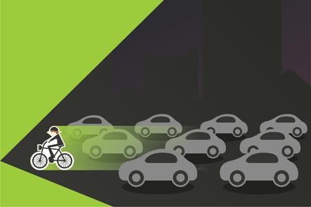 rush hour: green cyclist in rush hour traffic Illustration