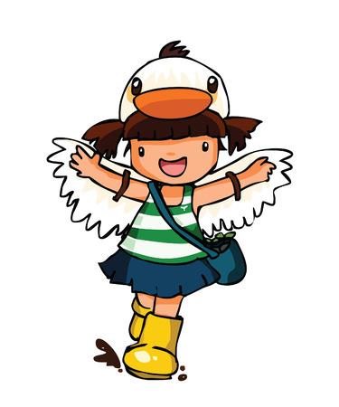 pequeño traje de niña de desgaste pato con botas amarillas