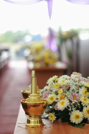 Buddhist libationary offering to make amends to deceased ones for past wrongs or offense