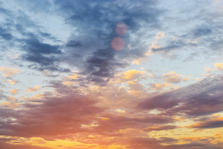 sunset sky with clouds and golden light, sunset sky gradient background Stock Photo