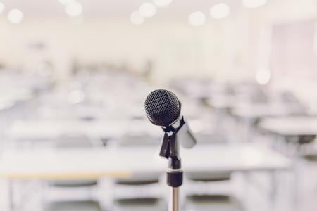 Microphone in Conference Seminar room Event Background Foto de archivo