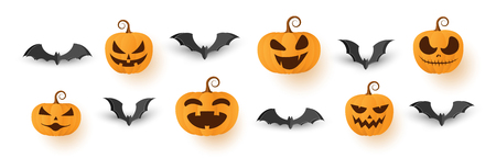 Set of Halloween pumpkins with paper bats.