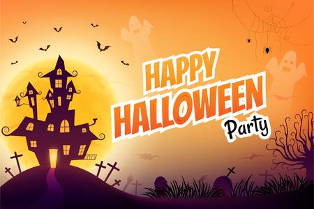 Halloween-Nachthintergrund mit gruseligem Schloss und Zombiehand unter dem Mondschein.