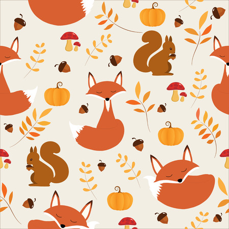 seamless pattern of Autumn with cute Fox and squirrel. Ilustração