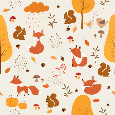 seamless pattern of Autumn with cute Fox and squirrel. 矢量图像