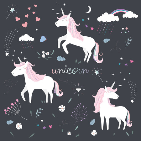 Pattern of Cute Magical Unicorn. 向量圖像