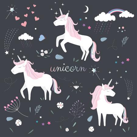 Pattern of Cute Magical Unicorn. Illustration