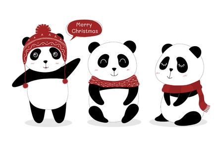 Cute Panda set. 矢量图像