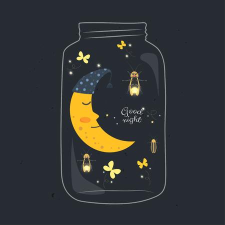 Tarro con luna sonriente durmiendo y luciérnaga en la noche.