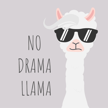 Cute Llama design with no drama motivational quote. Stock fotó - 110340764