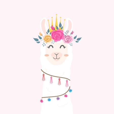 Cute llama head with flower crown. 向量圖像