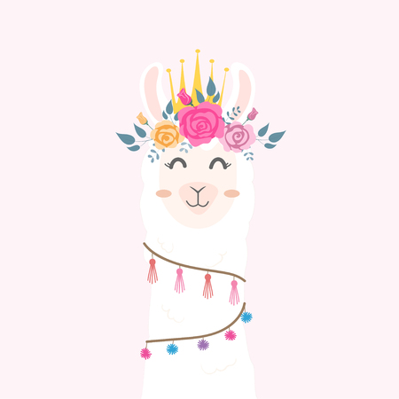 Cute llama head with flower crown. Illustration