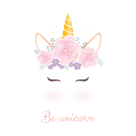 Cute unicorn head with flower crown. 스톡 콘텐츠 - 110340776